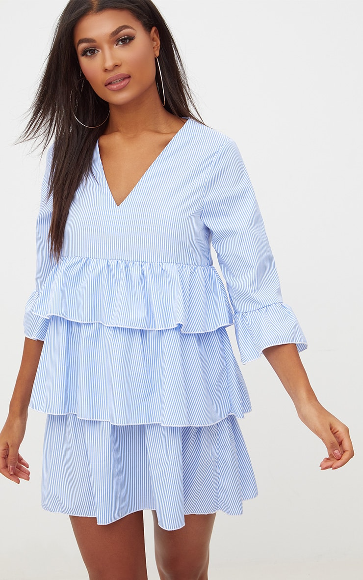 Blue Striped Frill Smock Dress 1