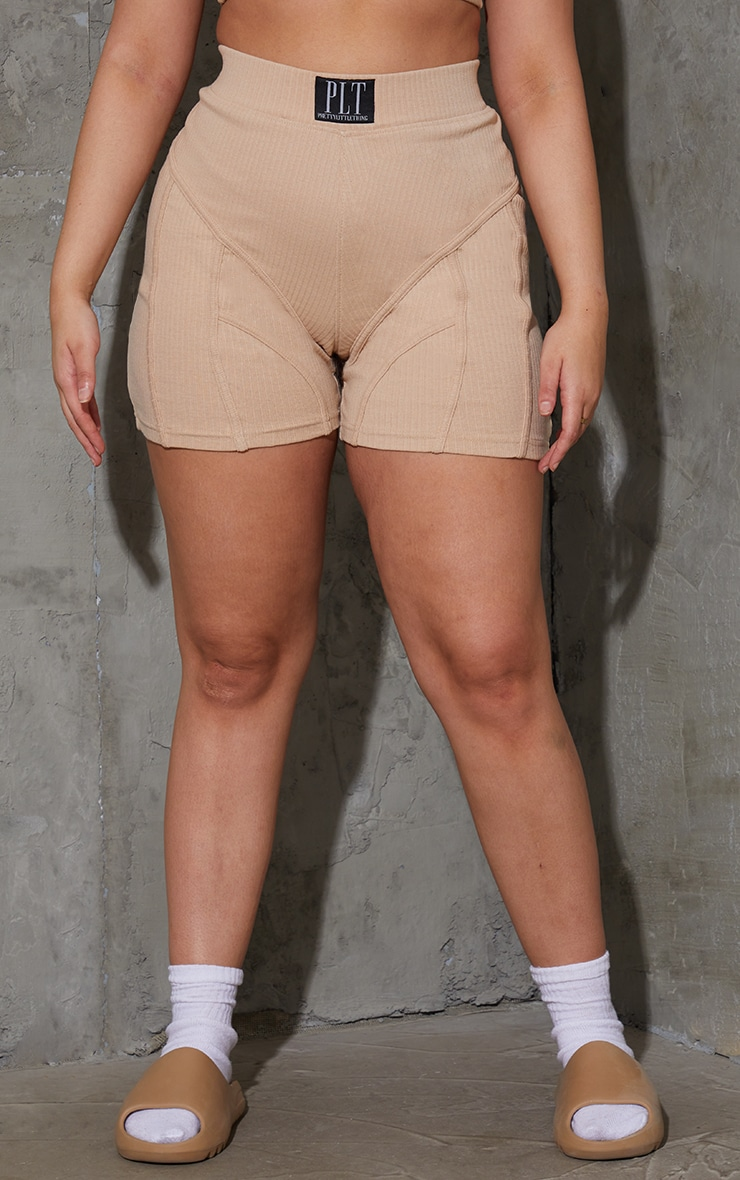 PRETTYLITTLETHING Plus Stone Badge Ribbed Seam Detail Cycle Shorts 2