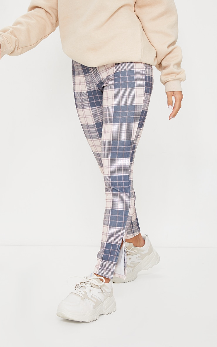 Petite Nude Checked Split Hem Pants 2