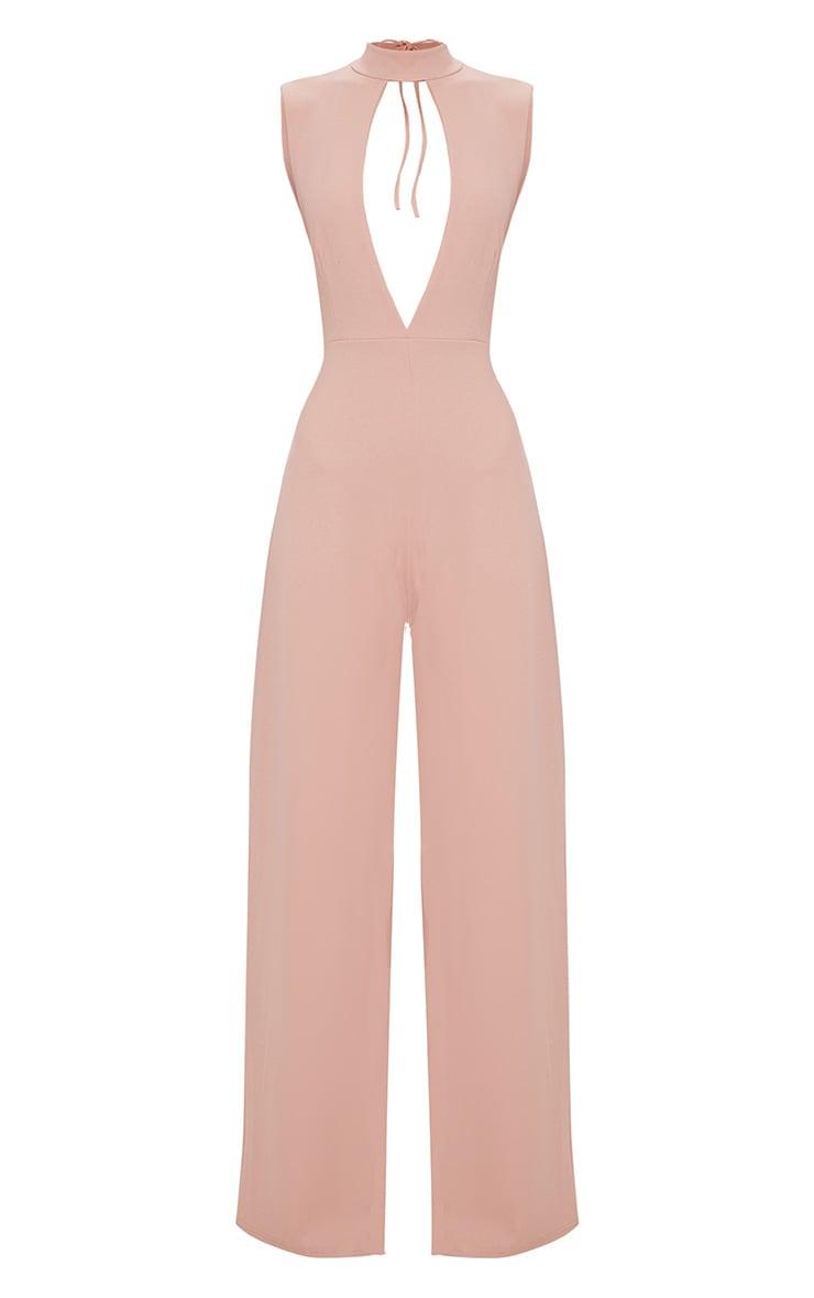 Pink Crepe Sleeveless Keyhole Wide Leg Jumpsuit 3