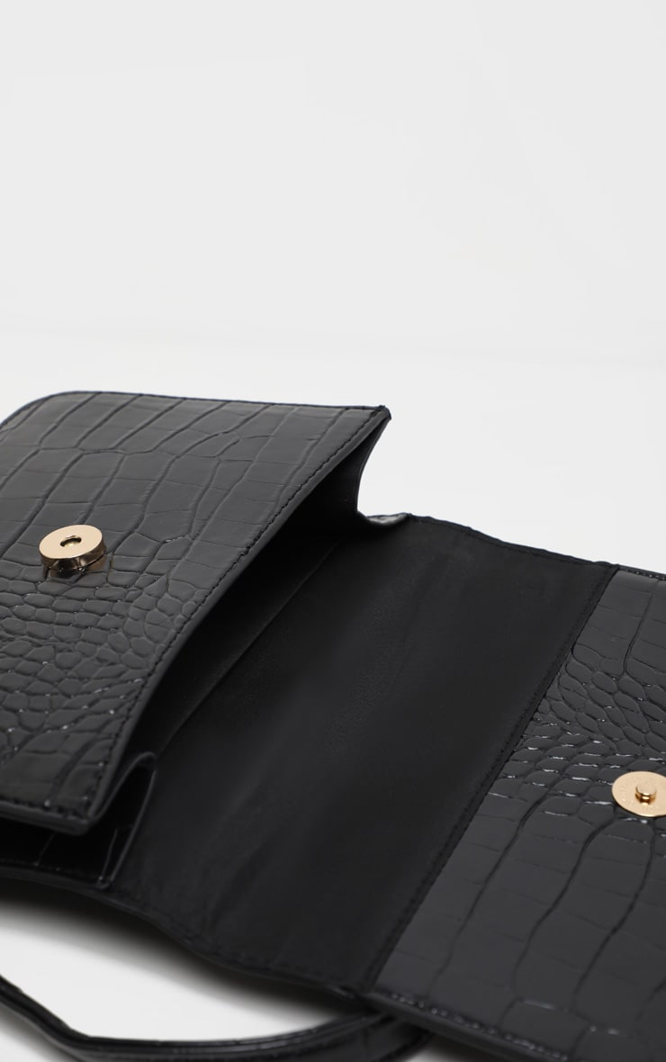 Black Croc Envelope Cross Body 4
