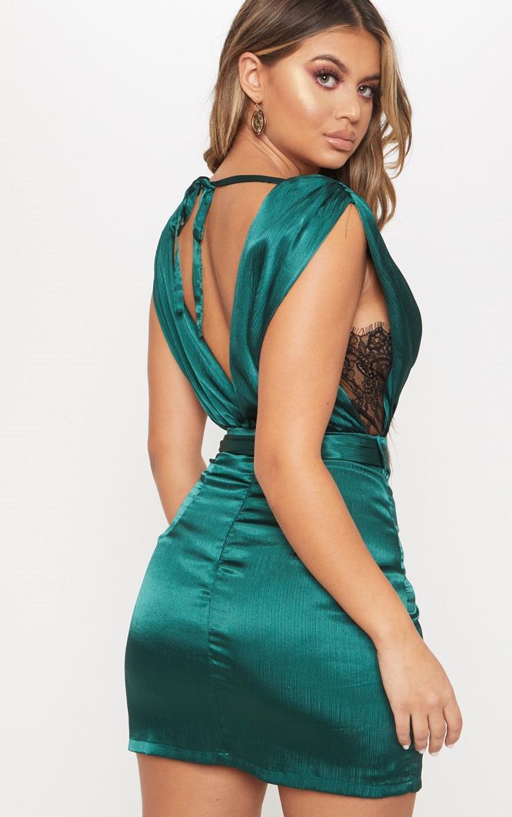 Emerald Green Satin Plunge Lace Insert Wrap Bodycon Dress 1
