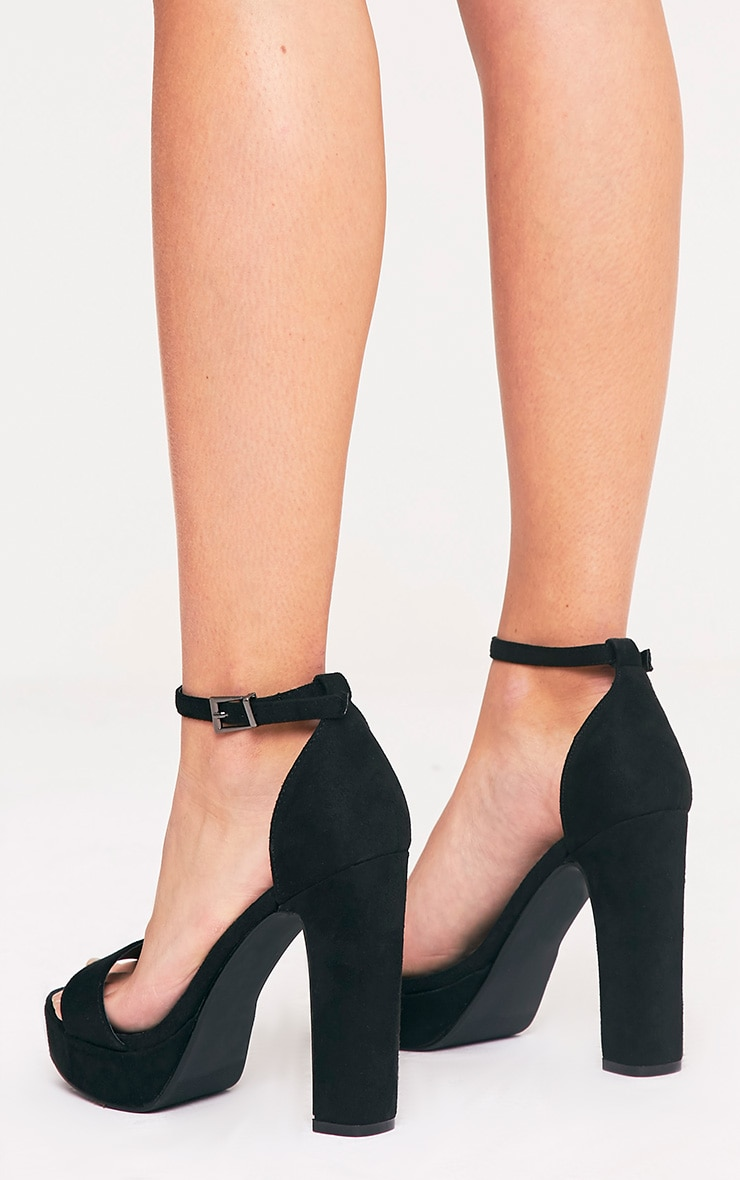 Taya Black Faux Suede Platform Sandals 4