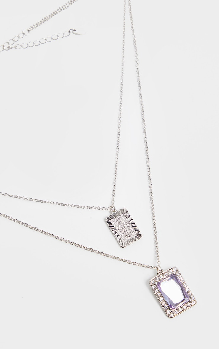 Silver Lilac Stone Cross Double Layering Necklaces 2