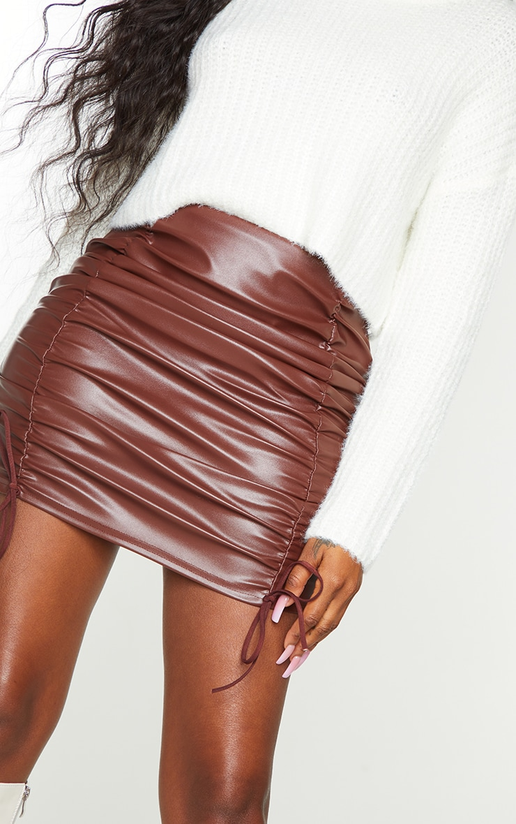 Chocolate Faux Leather Ruched Tie Detail Mini Skirt 5