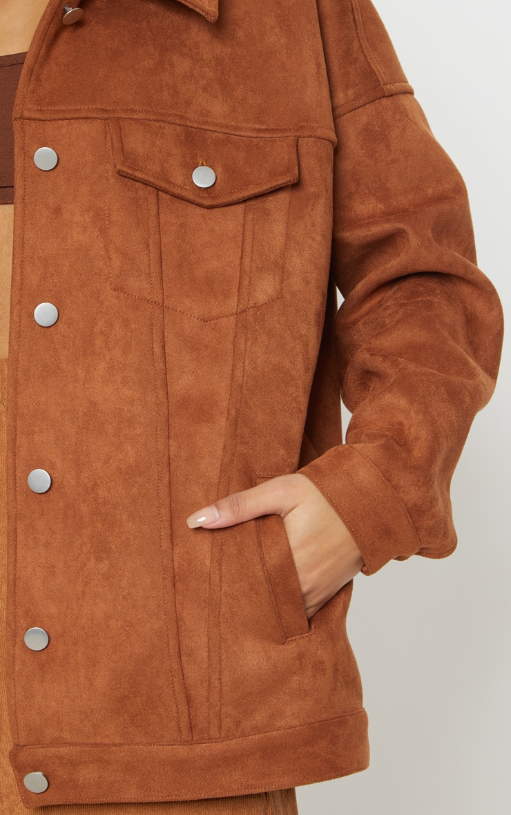 Chocolate Brown Faux Suede Oversized Trucker Jacket 5