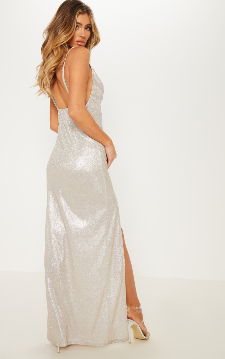 Silver Metallic Cowl Split Leg Maxi Dress 2