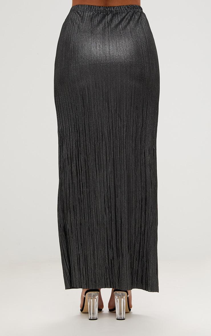 Plus Black Pleated Maxi Skirt 4
