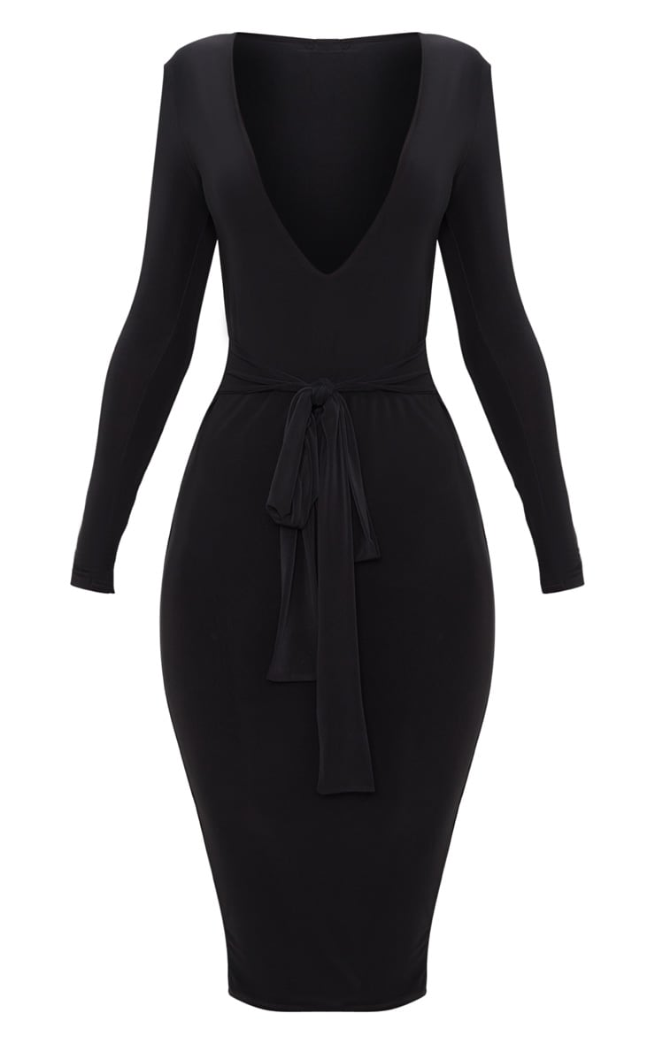 Black Slinky Plunge Tie Detail Midaxi Dress 3