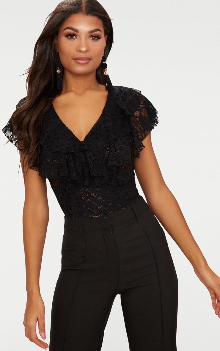 Black Lace Double Frill Thong Bodysuit 1