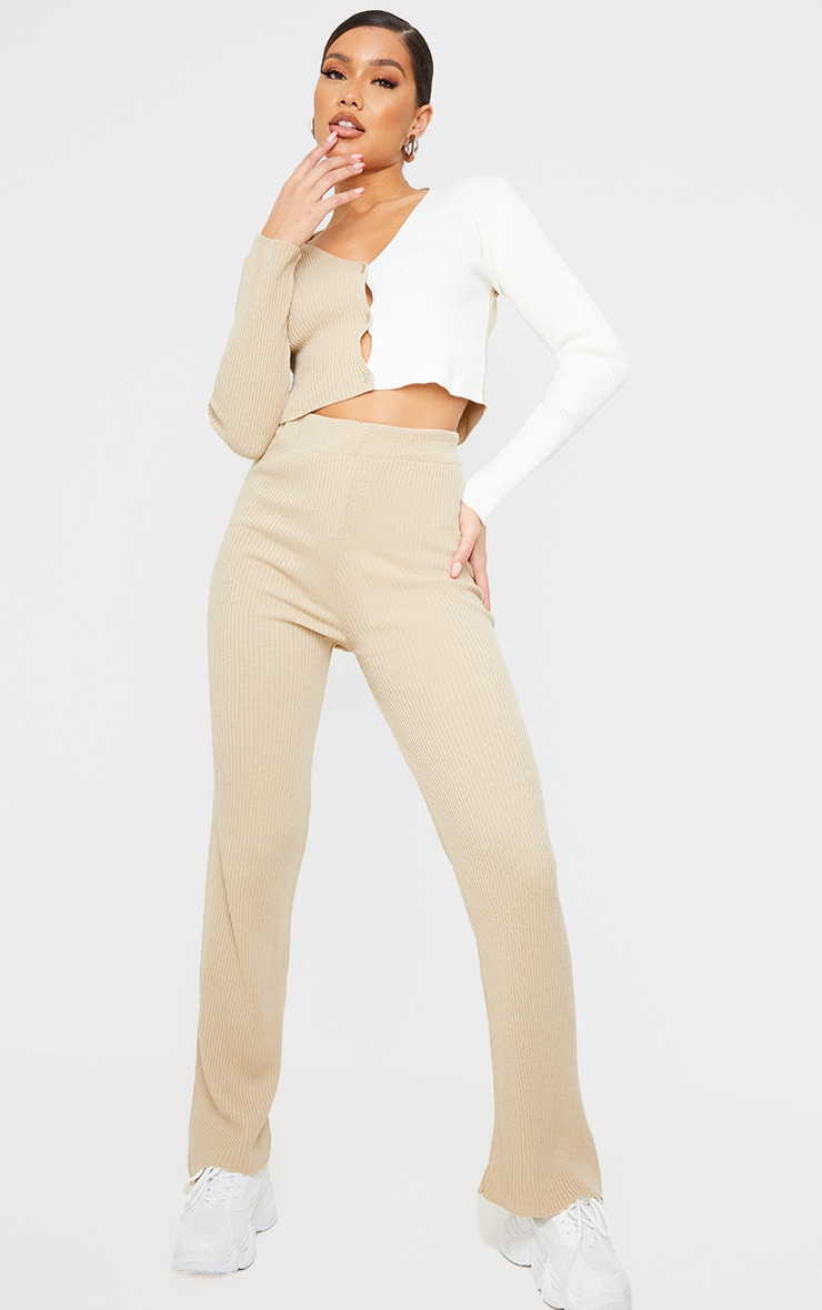 Stone Colour Block Knitted Cardigan and Wide Leg Trousers Set 1