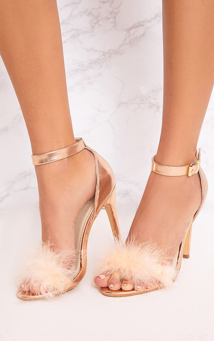 Soraya Nude Feather Strap Heels 2