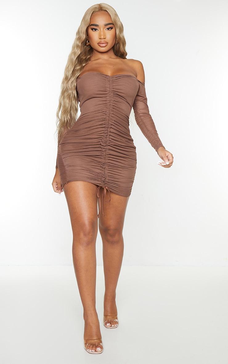 Shape Chocolate Brown Mesh Ruched Bardot Bodycon Dress 3