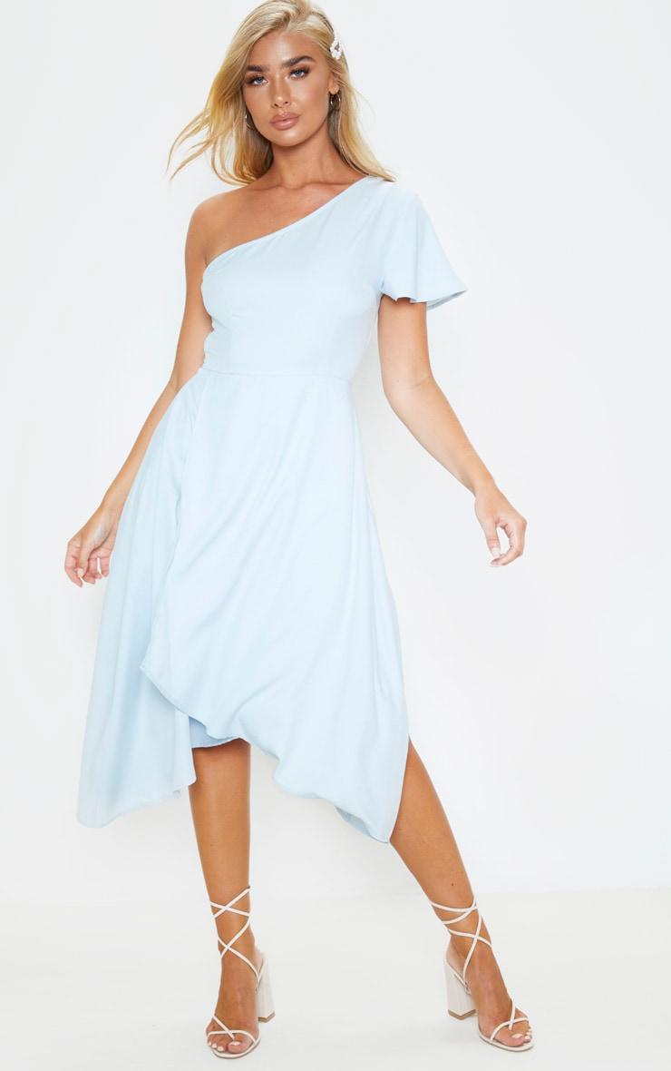 Dusty Blue Ruffle One Shoulder Midi Dress 1