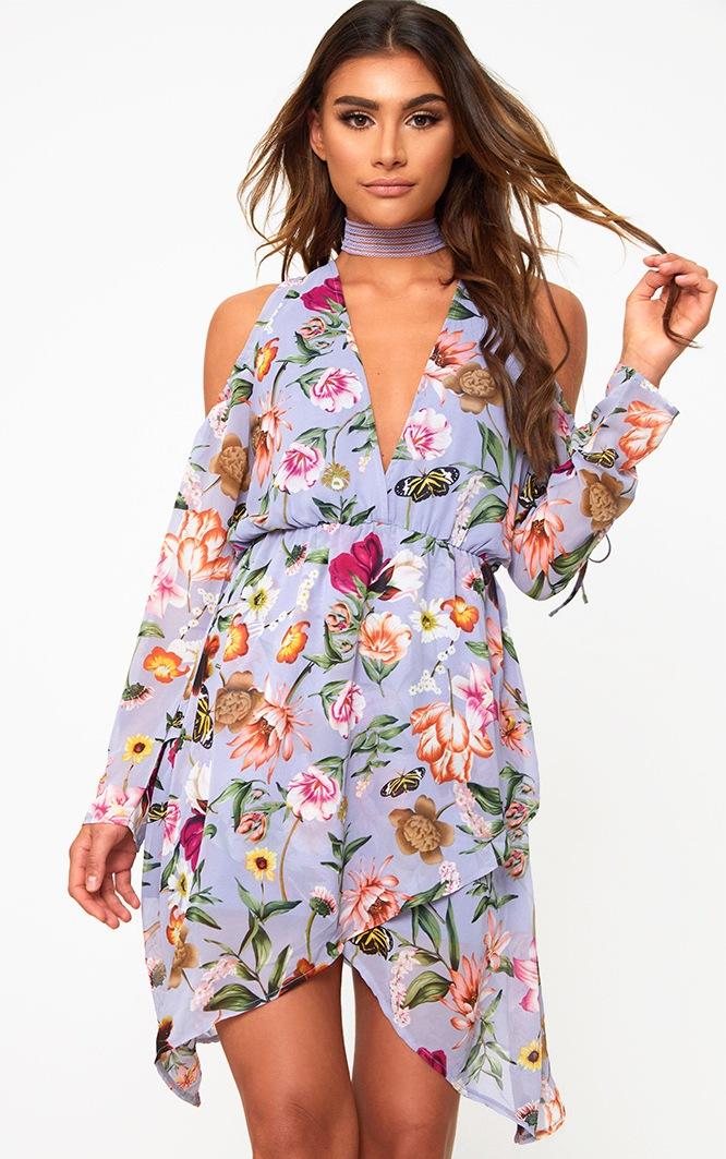 Dusty Blue Cold Shoulder Floral Shift Dress  1