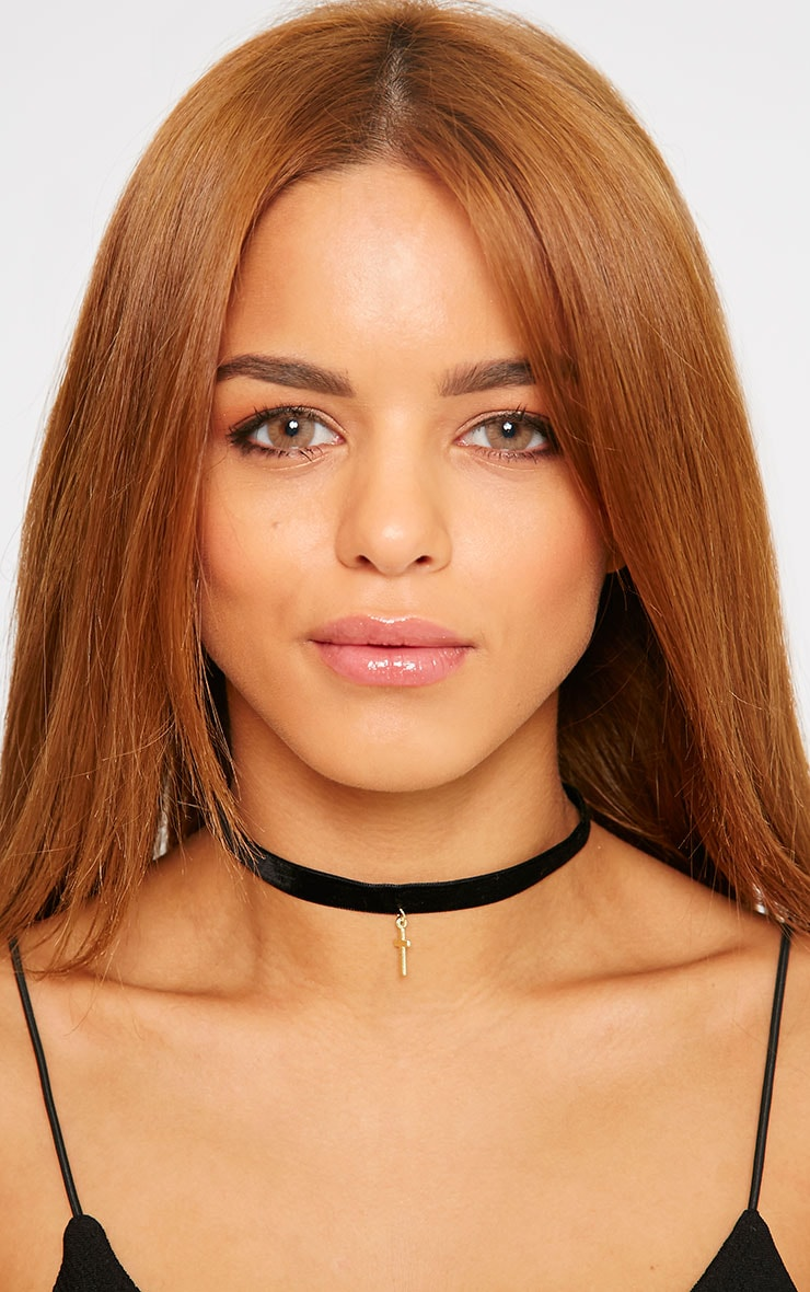 Charliz Black Velvet Gold Cross Choker 1