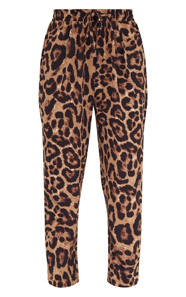 Brown Leopard Print Casual Pants 3