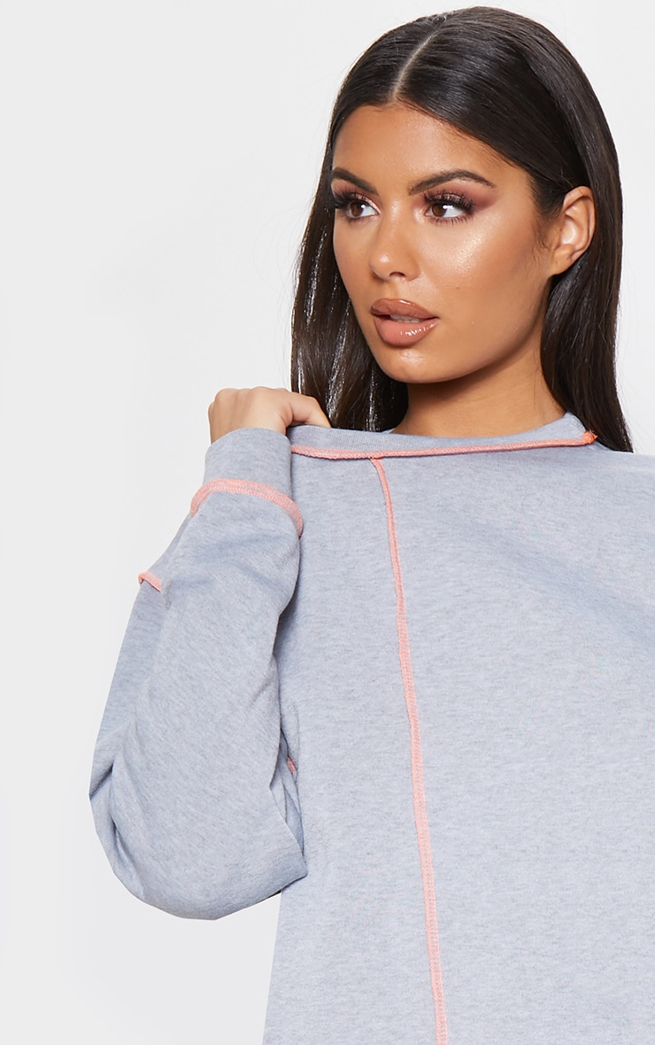 Grey Neon Contrast Stitch Oversized Jumper Dress 5