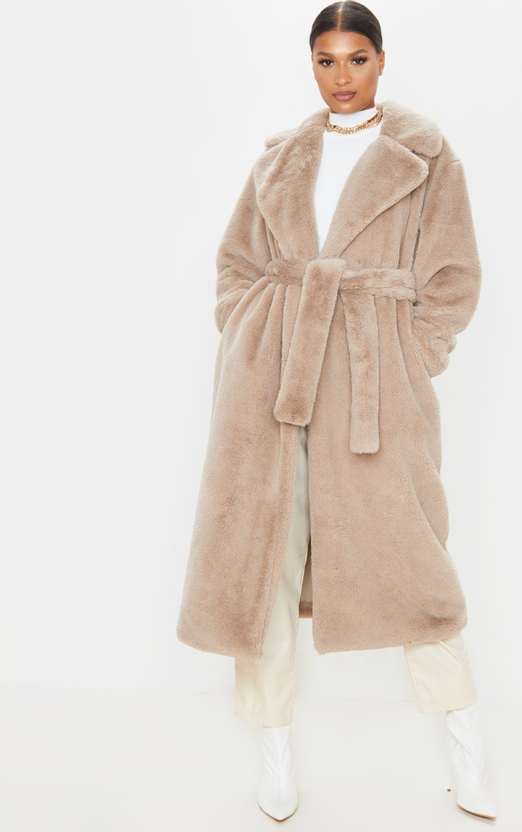 Taupe Belted Faux Fur Coat  2