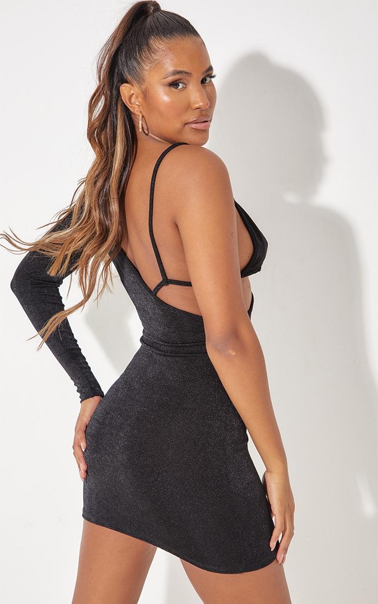 Black Textured Slinky One Shoulder Bralet Detail Bodycon Dress 2