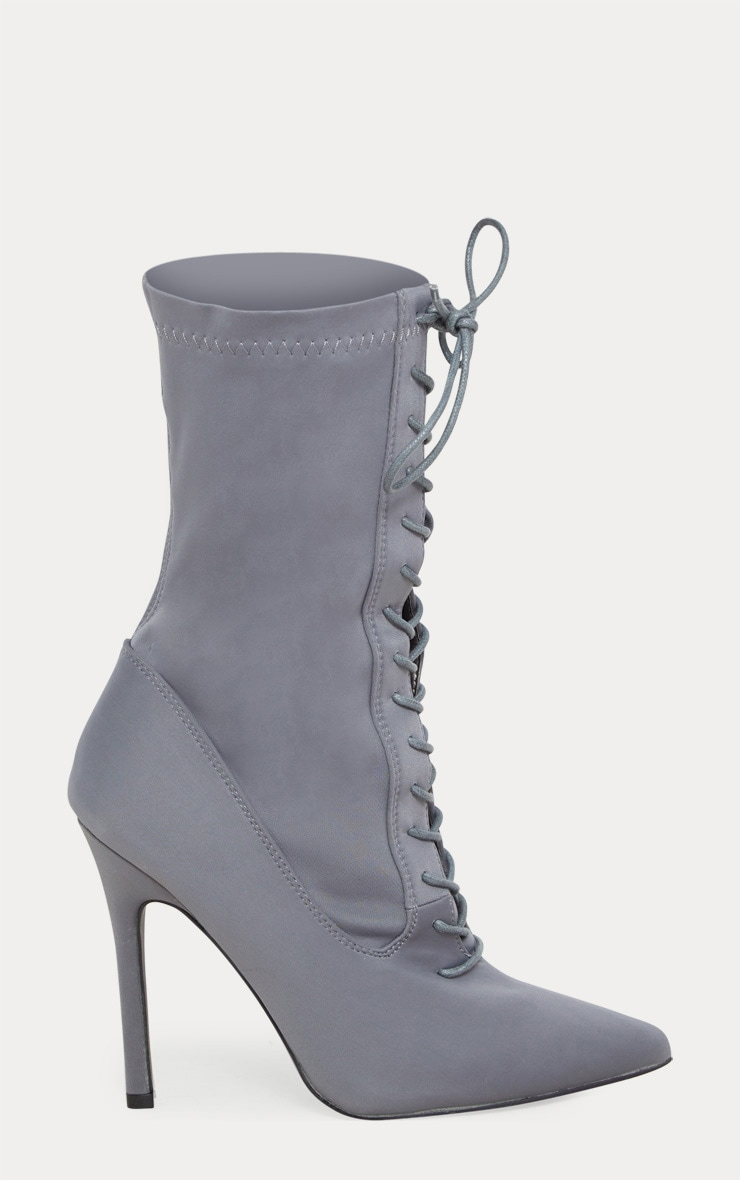 Grey Lycra Lace Up Sock Boot 3