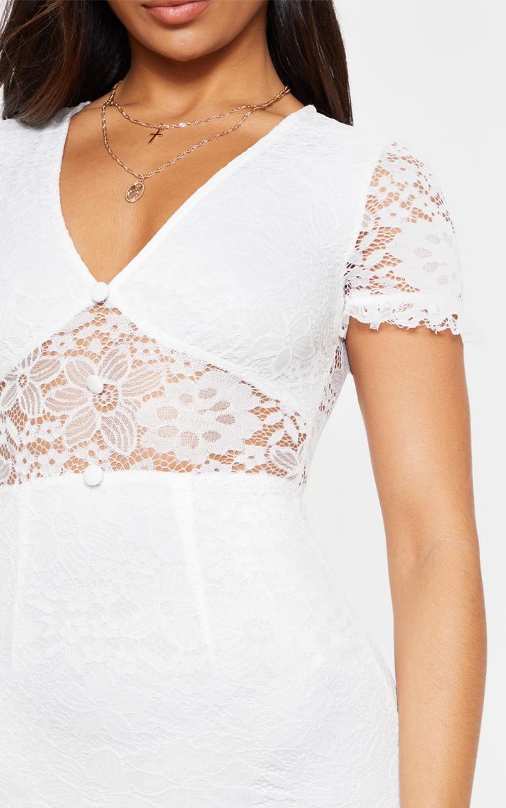 White Lace Cap Sleeve Bodycon Dress 5