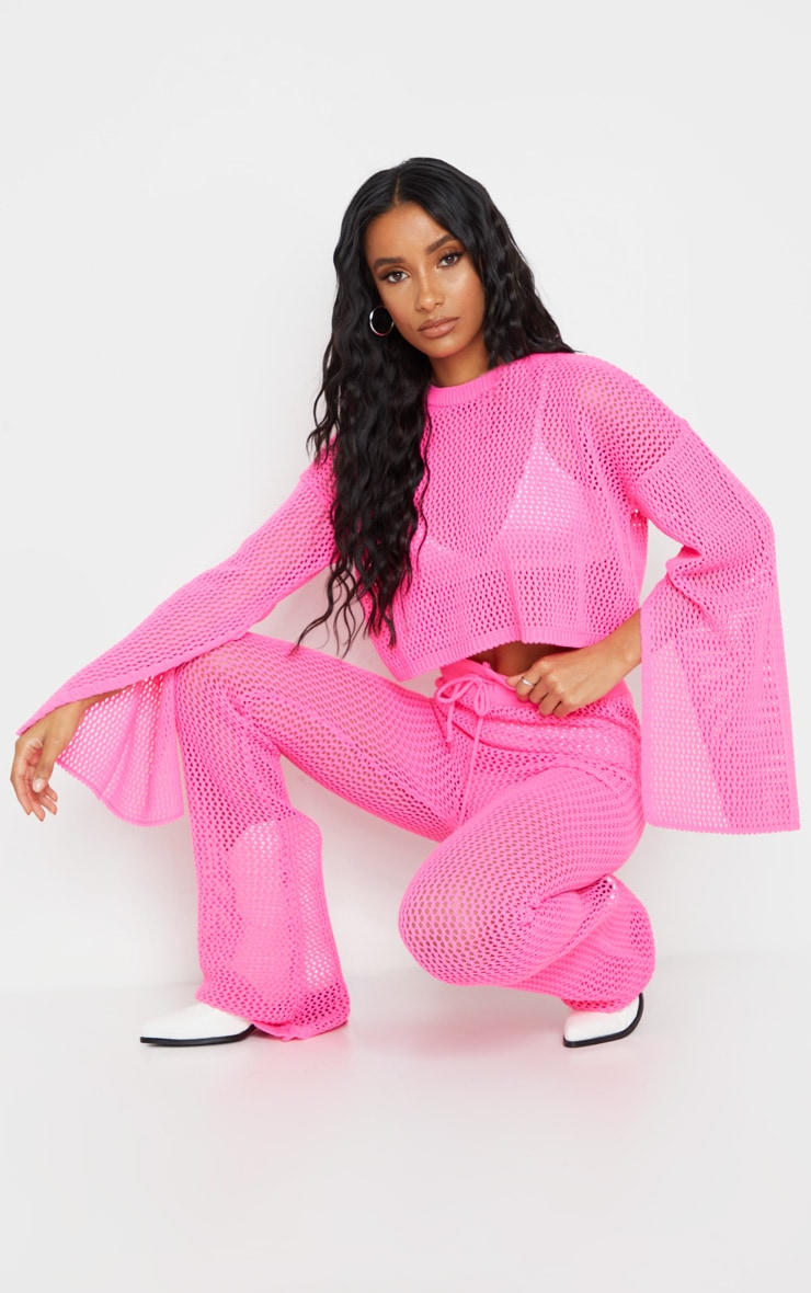 Pink Open Knitted Split Sleeve Set 1