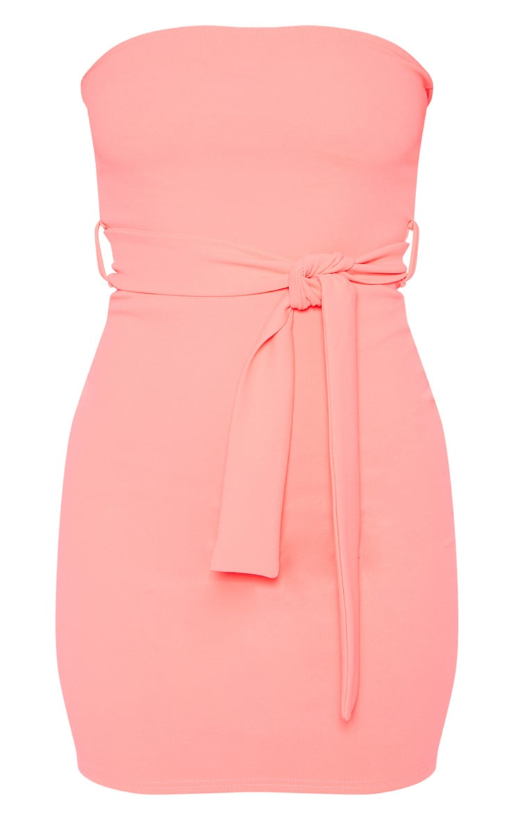 Neon Pink Bandeau Tie Waist Bodycon Dress 3