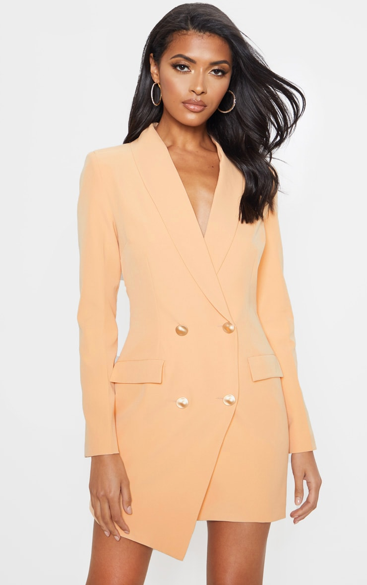 Nude Gold Button Blazer Dress 1
