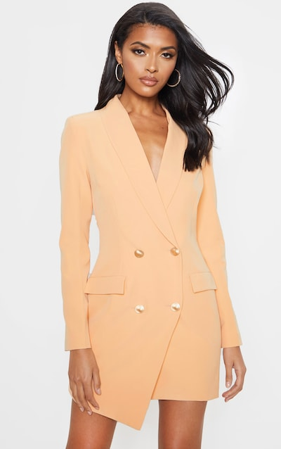 0d877c68ae5 Nude Gold Button Blazer Dress