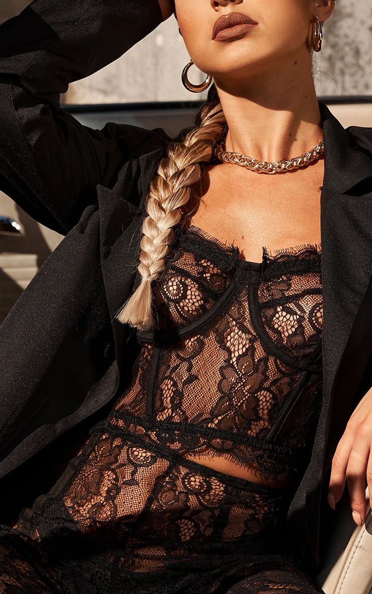 Black Sheer Lace Strappy Corset Top 4