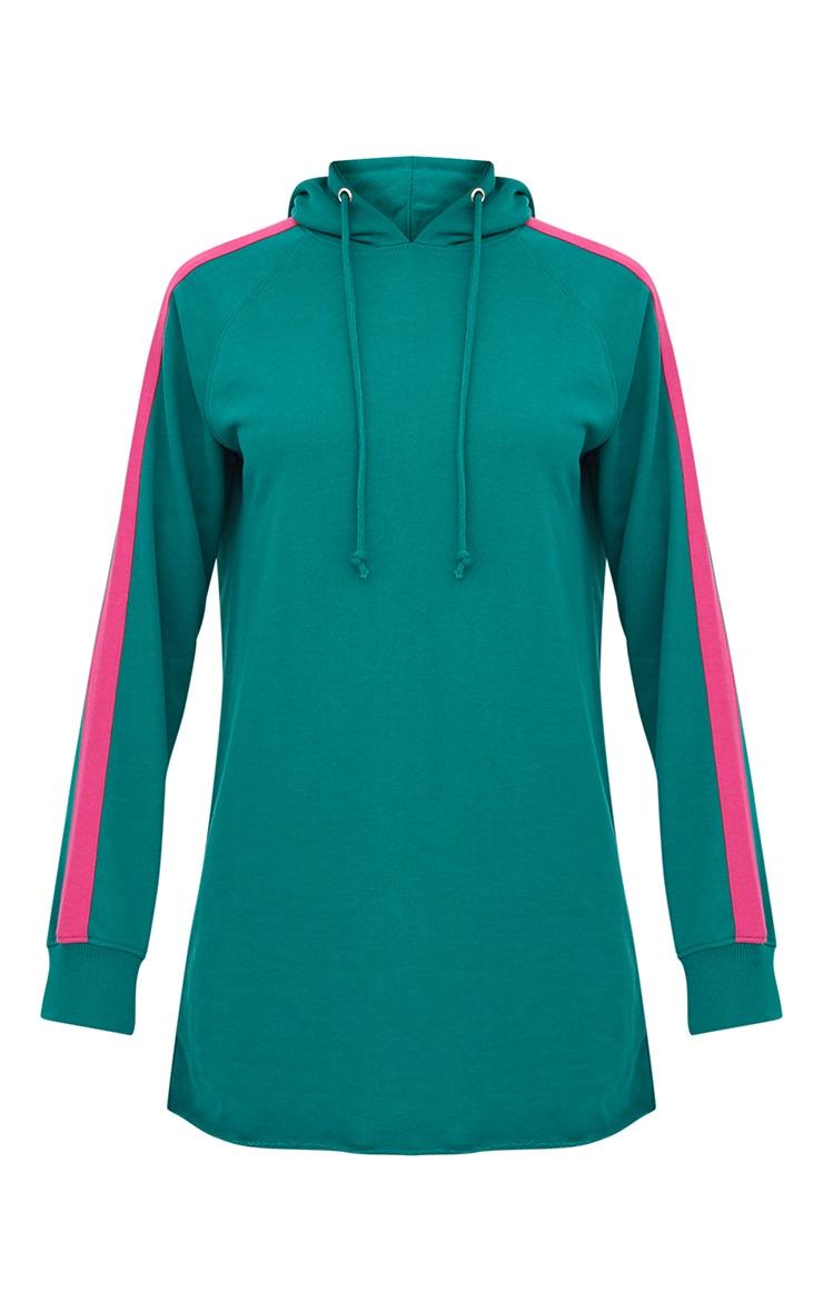 Green Loop Back Hooded Sports Stripe Sweater Dress 3
