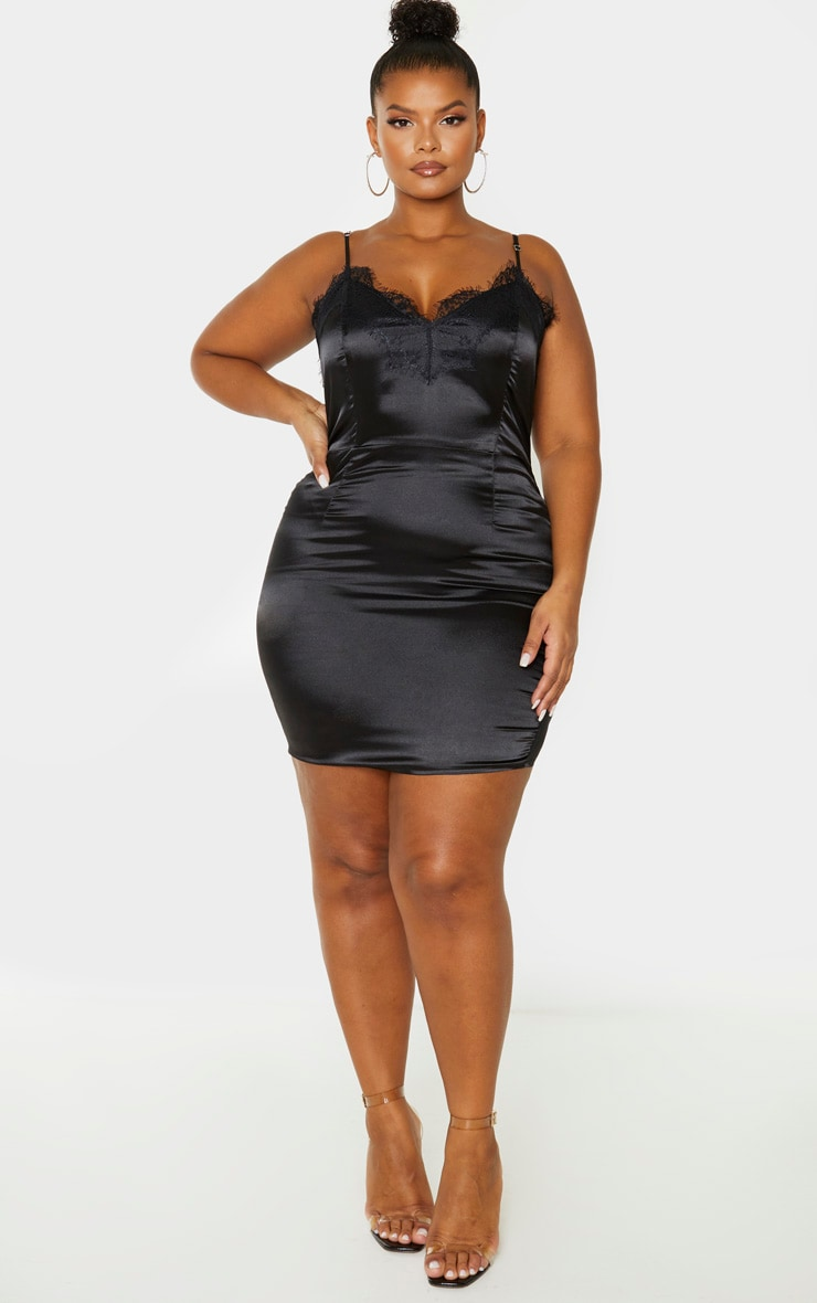Plus Black Lace Trim Bodycon Dress 4