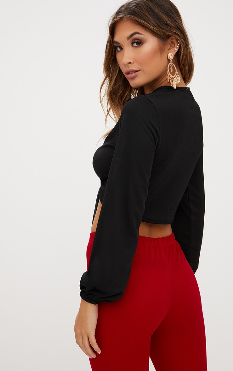 Black Open Front Tie Longsleeve Top  2