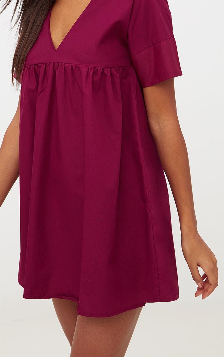 Burgundy Poplin Smock Dress 5
