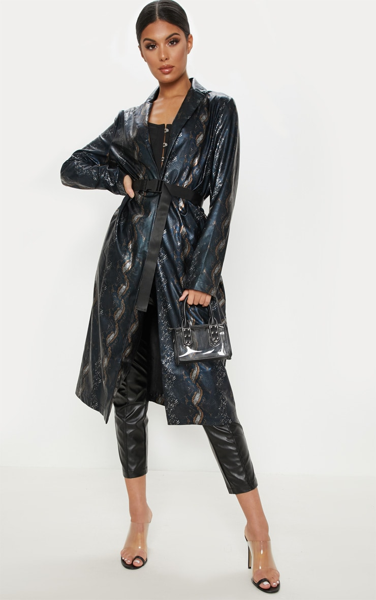 Black Snake Print PU Trench 1