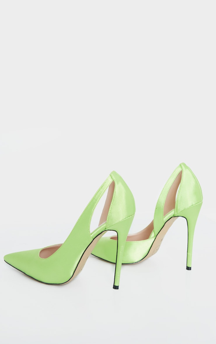 Lime Satin Cut Out Heel Court Shoe 4