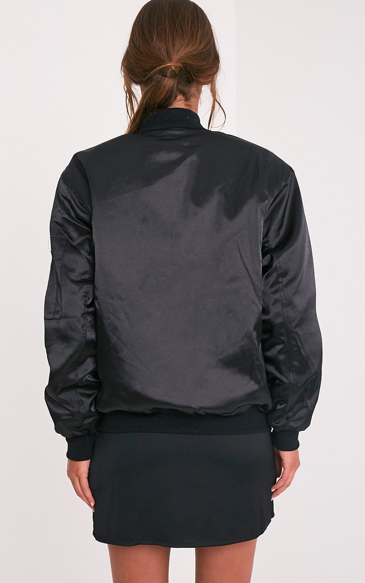 Cruz Black Satin Oversized Bomber Jacket 2
