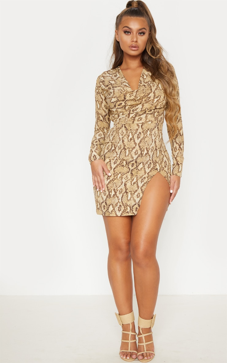 Beige Snake Print Cowl Neck Bodycon Dress 2
