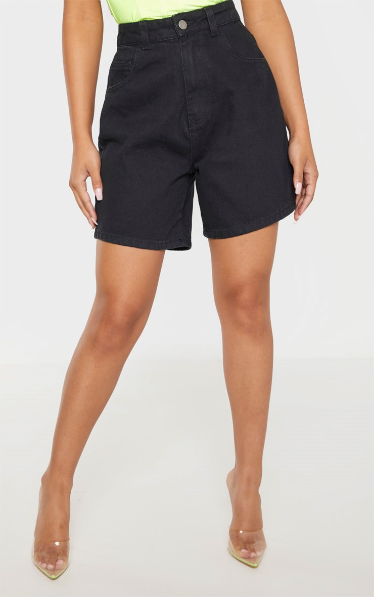 Petite Black Mom Denim Shorts  2