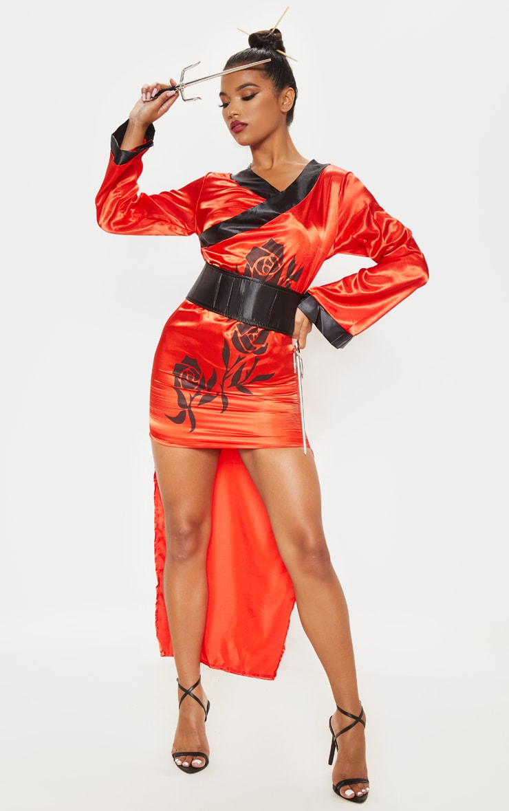 Red Sexy Samurai Costume 1