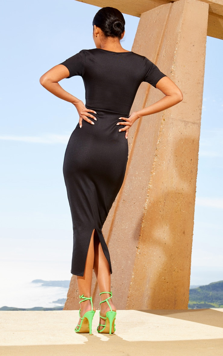 Black Second Skin Square Neck Cut Out Midaxi Dress 2