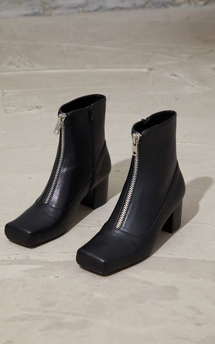 Black Pu Extreme Square Toe Low Heeled Ankle Boots 3