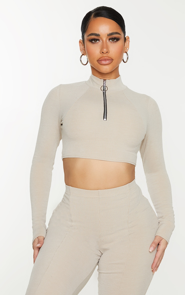 Shape Stone Soft Rib Ring Pull Long Sleeve Crop Top 1