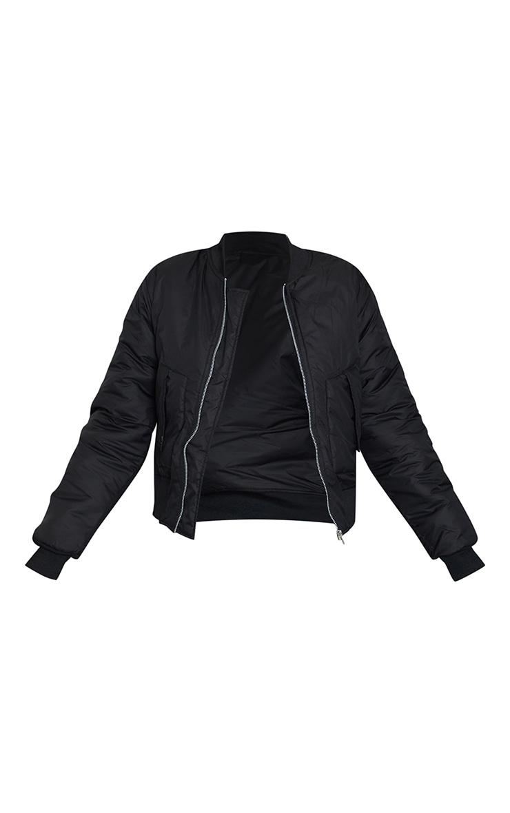 Black Nylon Popper Button Pocket Bomber Jacket 5