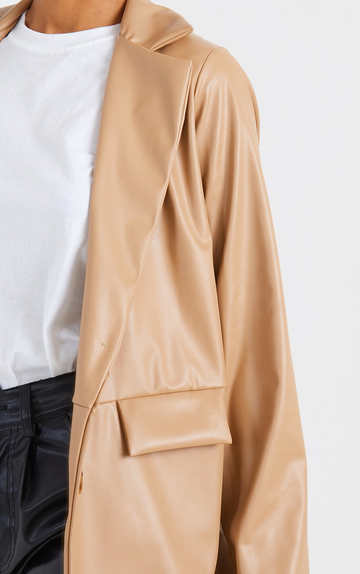 Tan PU Pocket Look Double Button Blazer 4