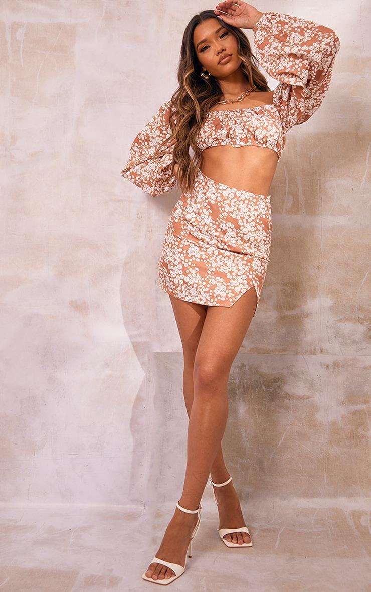 Orange Floral Printed Woven Split Hem A Line Mini Skirt 1