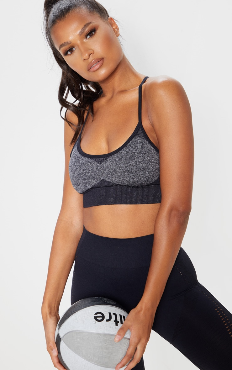 Black Seamless Long Line Sports Bra Top 1