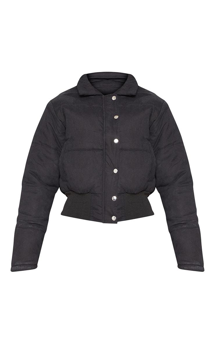 Black Peach Skin Cropped Puffer Jacket 3