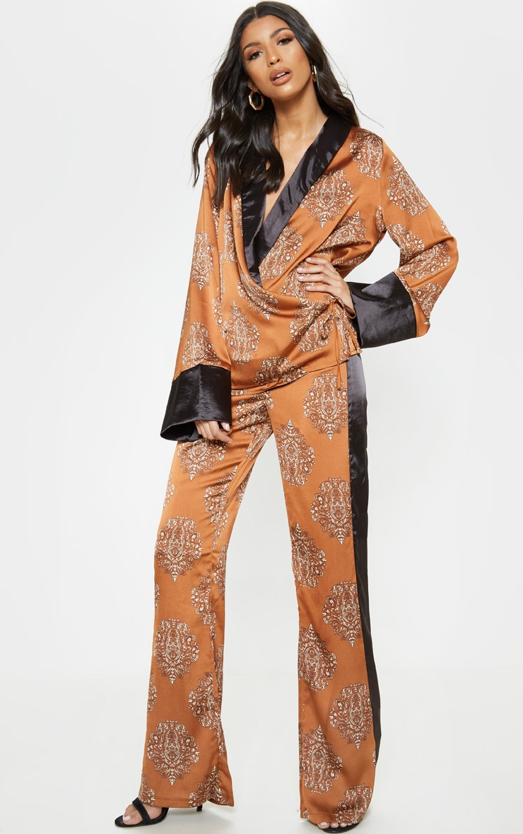 Rust Satin Paisley Print Contrast Blouse 4